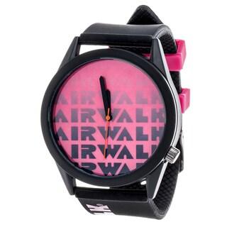 Airwalk Metal Alloy Case w/ Black Silicon Strap Analog Watch