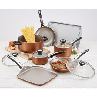 Farberware High Performance Nonstick Aluminum Cookware Set, 17-Piece, Copper