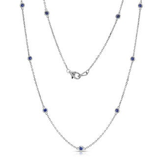 Noray Designs 14k White Gold 1/2ct TGW Blue Sapphire by the Yard 10 Station Necklace