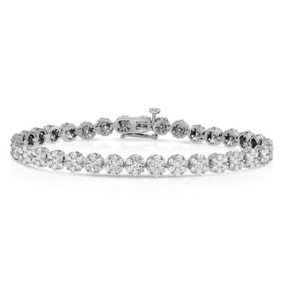 Noray Designs 14k White Gold 5ct TDW Diamond Flower Cluster Tennis Bracelet (G-H, SI1-SI2)