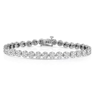 Noray Designs 14k White Gold 5ct TDW Diamond Flower Cluster Tennis Bracelet