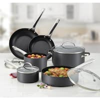 Farberware Hard-Anodized Aluminum Nonstick Cookware Set, 14-Piece, Gray