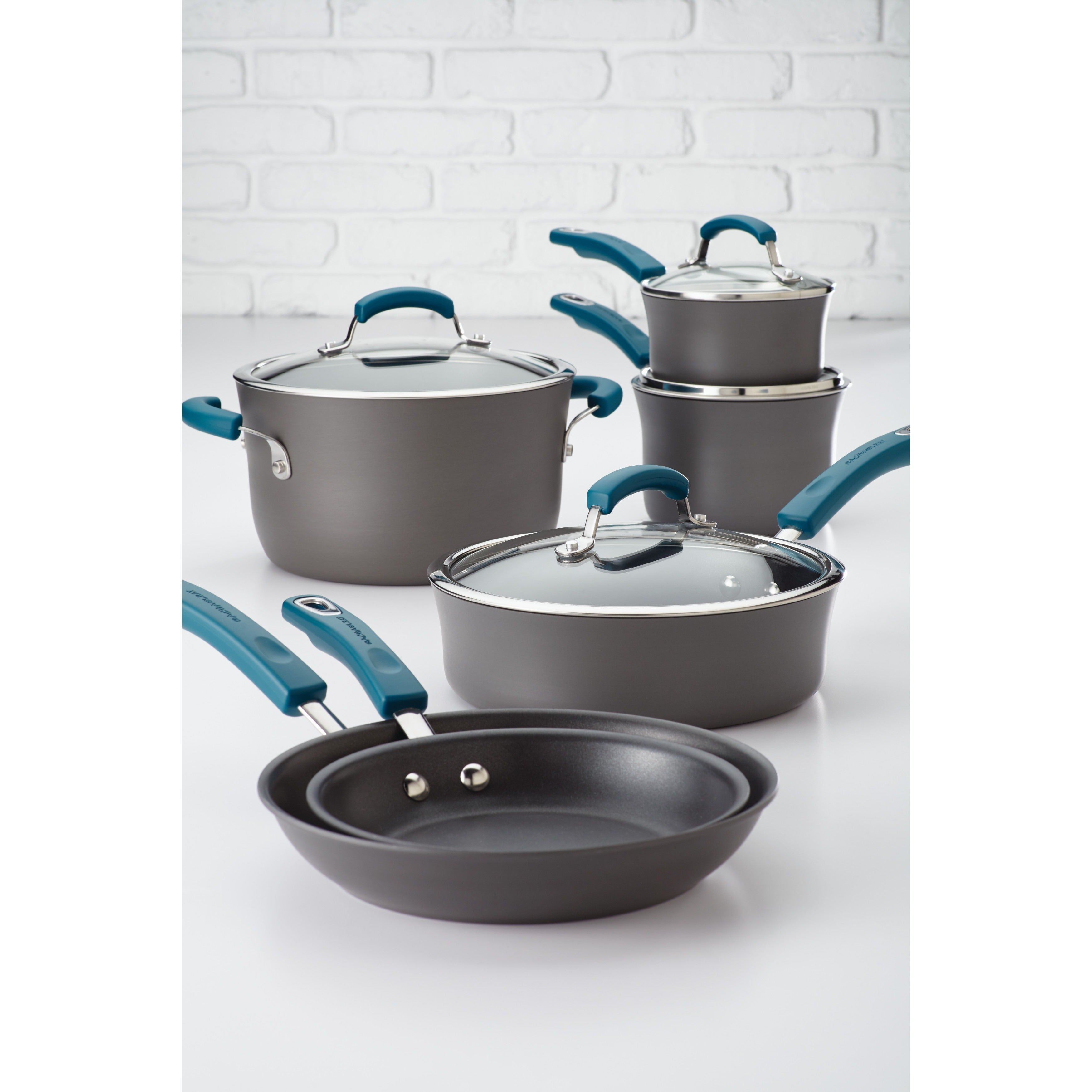 Rachael Ray Nonstick Aluminum Cookware Set with Blue Hand...