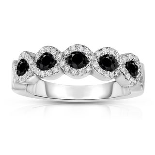 Noray Designs 14k White Gold 3/8ct TDW Black and White Diamond Ring (G-H, SI1-SI2)