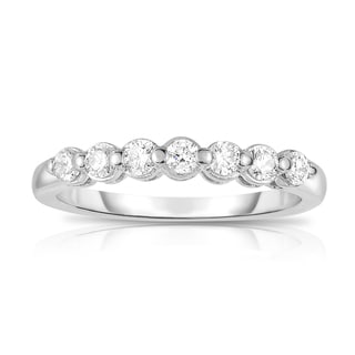 Noray Designs 14k White Gold 3/8ct TDW 7-stone Single Prong Diamond Ring (G-H, SI1-SI2)
