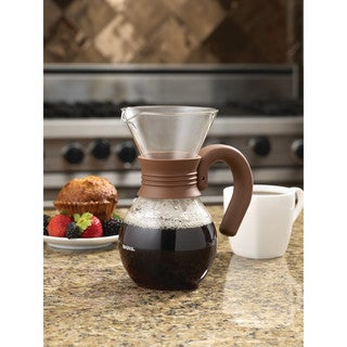 BonJour Coffee Pour Over Brewer and Pitcher, 20-Ounce, Glass with Mocha Brown Handle