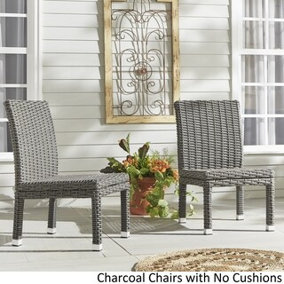 Barbados Wicker Patio Cushioned Dining Side Chair (Set of 2) iNSPIRE Q Oasis (More options available)