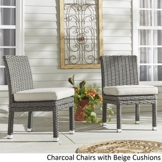Barbados Wicker Patio Cushioned Dining Side Chair (Set of 2) iNSPIRE Q Oasis (Option: [Charcoal Finish] - with BEIGE (mini stripes) cushion)