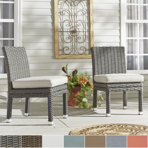 Barbados Wicker Patio Cushioned Dining Side Chair (Set of 2) iNSPIRE Q Oasis