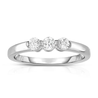 Noray Designs 14k White Gold 1/4ct TDW 3-stone Single Prong Diamond Ring (G-H, SI1-SI2)