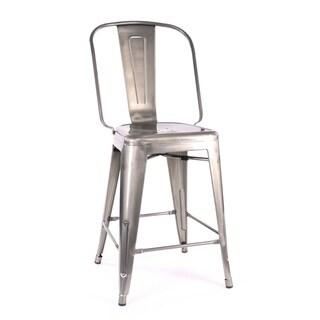 Amalfi Tolix 24-inch Gunmetal Steel Counter Chair (Set of 4)