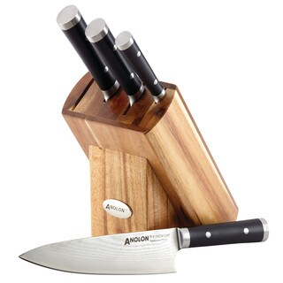 Anolon Imperion Damascus Steel Cutlery Knife Block Set, 5-Piece