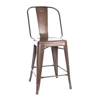 Amalfi Matte Espresso Steel Counter Chair (Set of 4)