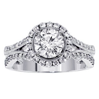 Platinum 1 2/5ct TDW Split-Shank Pave-set Halo Diamond Engagement Ring