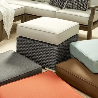 Barbados Wicker Outdoor Cushioned Grey Charcoal Grand Ottoman Table iNSPIRE Q Oasis