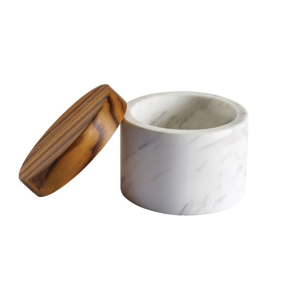 Anolon Pantryware White Marble Salt Cellar With Teak Wood