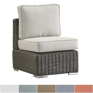 NAPA LIVING Barbados Wicker Outdoor Cushioned Sectional Middle Chair - Charcoal