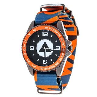 Airwalk Metal Alloy Case w/ Orange Designed Cloth Strap Analog Watch