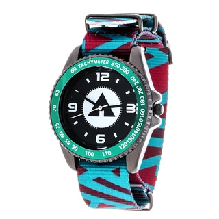 Airwalk Metal Alloy Case w/ Green Designed Cloth Strap Analog Watch