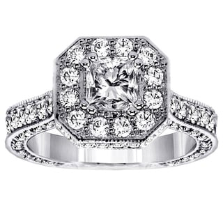 14k/18k White Gold 3ct TDW Princess-cut Designer Engagement Ring (G-H, SI1-SI2)