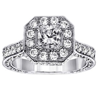 14k/18k White Gold 3ct TDW Princess-cut Designer Engagement Ring
