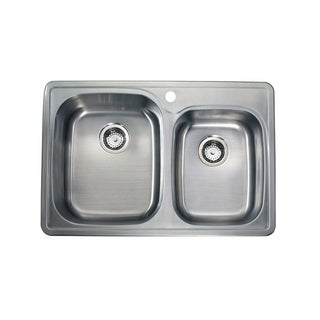 Silver 18-Gauge Stainless Steel Drop-in Double-bowl Sink (As Is Item)