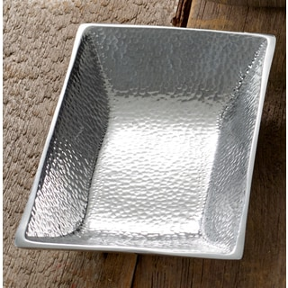 "10"" Hammered Aluminum Rectangle Tray"