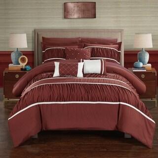 Chic Home 10-Piece Wanda BIB Comforter Set, Brick