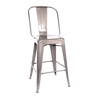 Amalfi Gunmetal Steel Counter Chair 26 Inch (Set of 4) - N/A