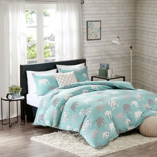 HipStyle Henry Aqua Printed Cotton 4-piece Duvet Cover Set