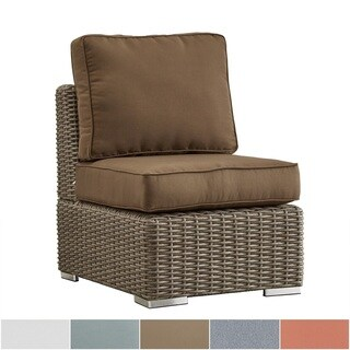 NAPA LIVING Barbados Wicker Outdoor Cushioned Brown Mocha Sectional Middle Chair