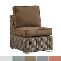 Barbados Wicker Outdoor Cushioned Brown Mocha Sectional Middle Chair iNSPIRE Q Oasis