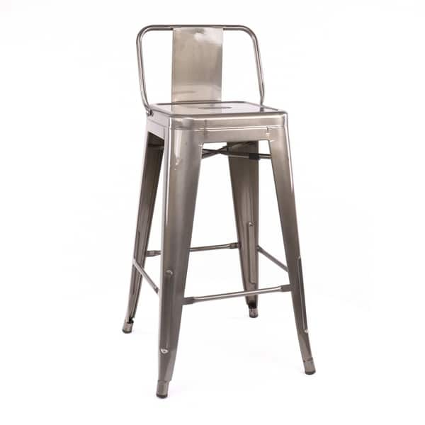 Peachy Shop Amalfi Gunmetal Low Back Steel Counter Height Stool Lamtechconsult Wood Chair Design Ideas Lamtechconsultcom