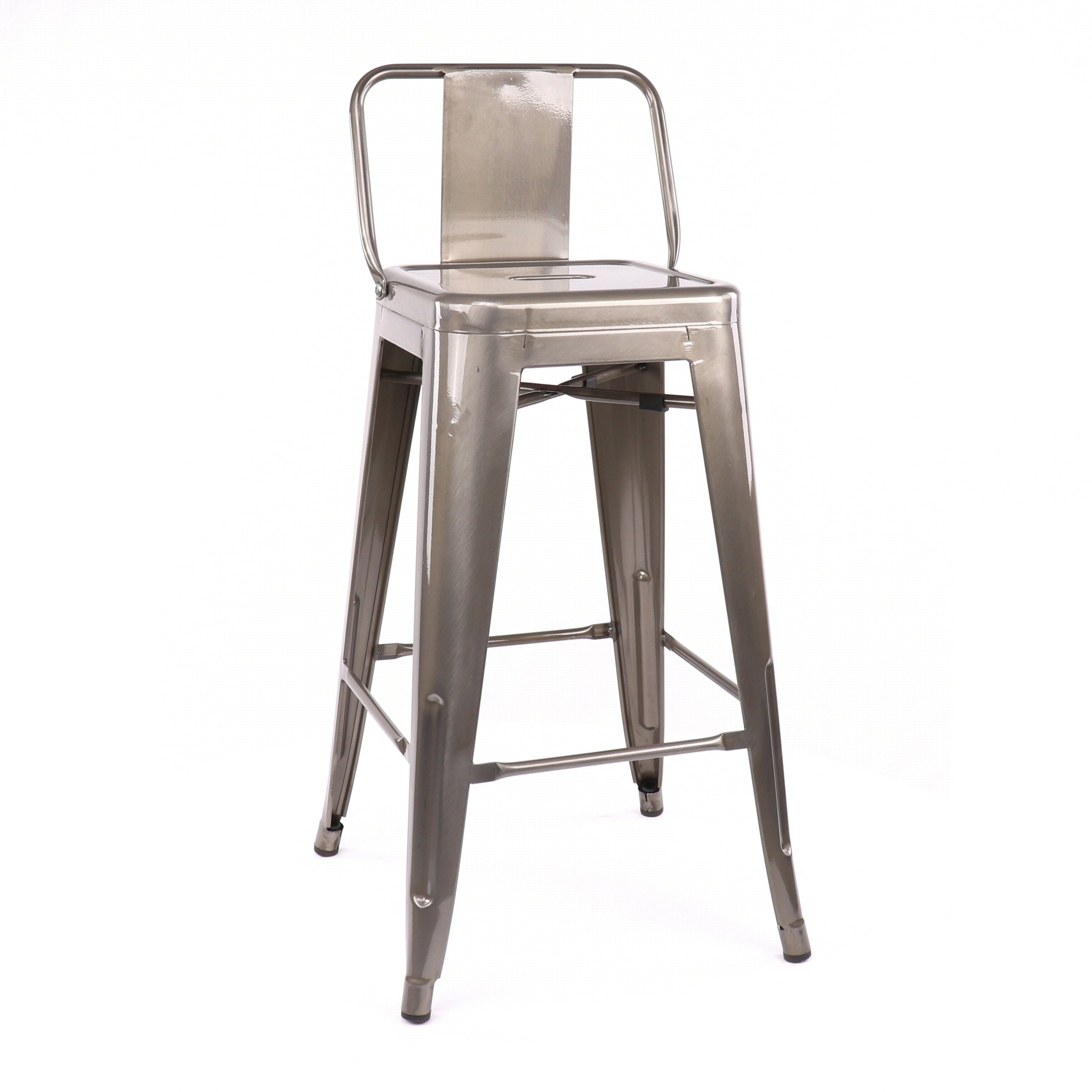 Amalfi Gunmetal Low Back Steel Counter Height Stool Set Of 4