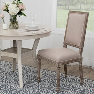 Abbyson French Vintage Linen Rectangular Back Dining Chair