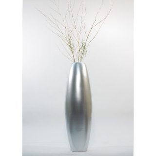 Solid Silver Lacquer 47-inch Cylinder Floor Vase and Branches