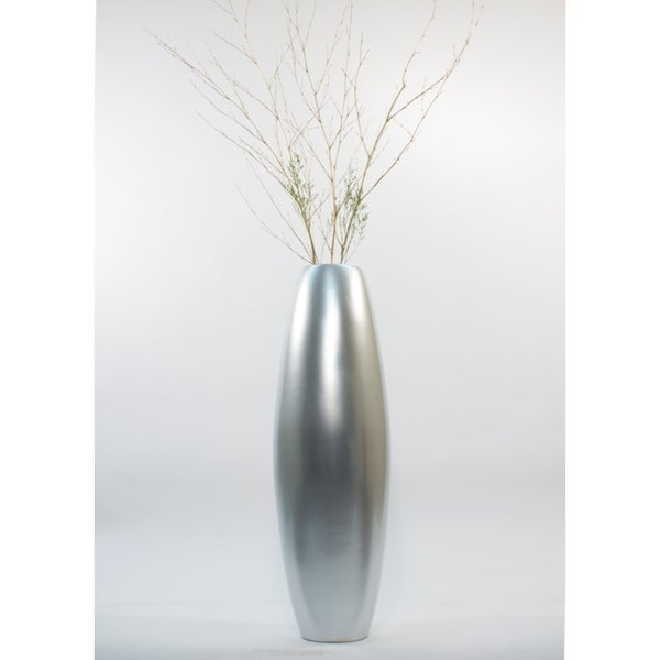 Silver Tone Lacquer Inch Cylinder Floor Vase And Branches - Cylinder floor vase silver