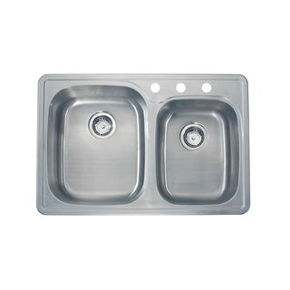 Satin-finish 18-gauge Stainless Steel 33-inch x 22-inch Drop-in Double Bowl Sink