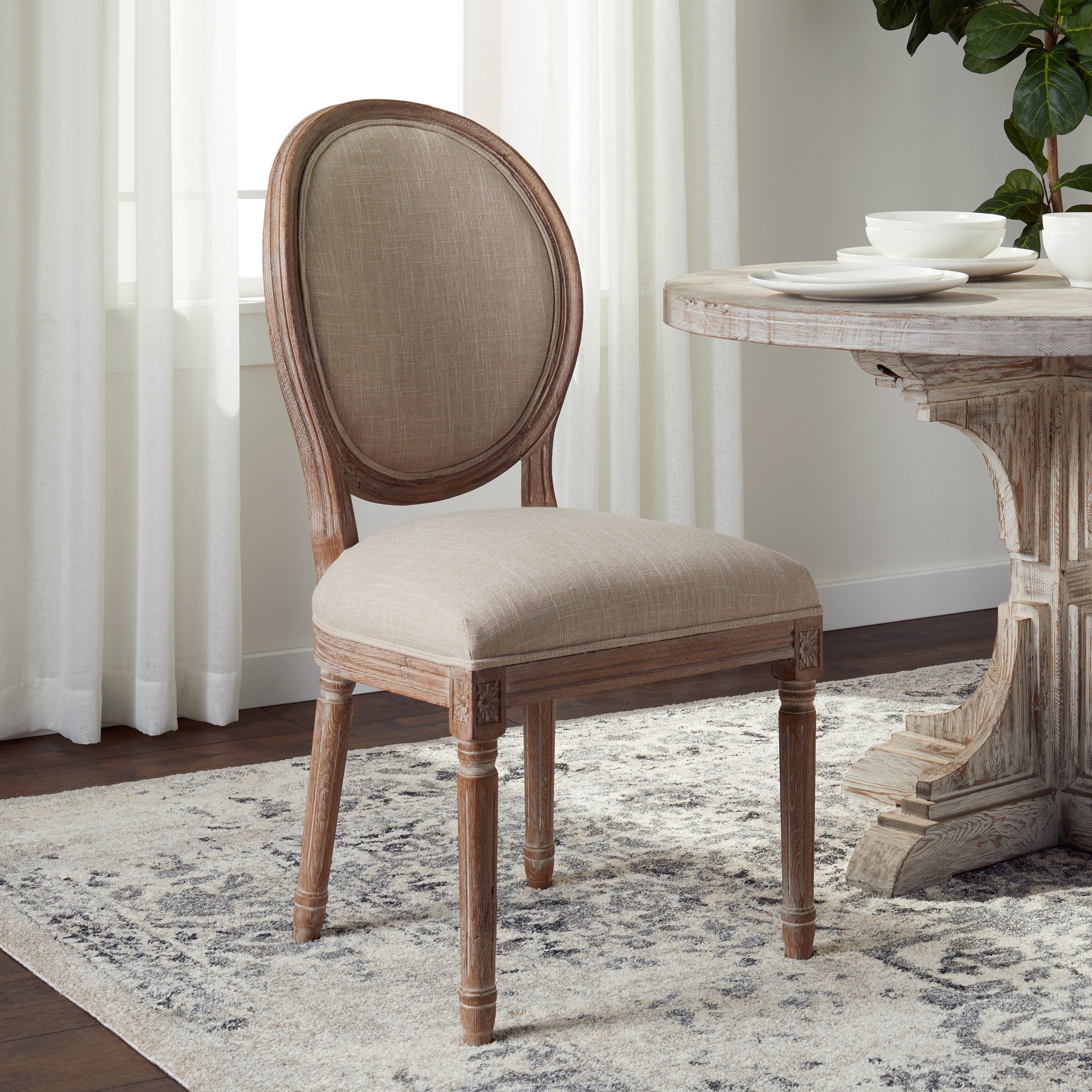 Abbyson French Vintage Linen Round Back Dining Chair Overstock 12734449