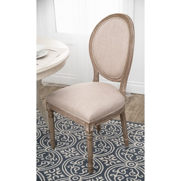 Abbyson French Vintage Linen Round Back Dining Chair  sc 1 st  Overstock.com & Shop Abbyson French Vintage Linen Round Back Dining Chair - On Sale ...