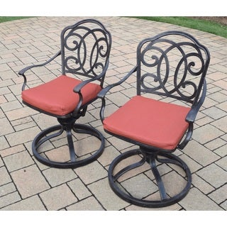 Set of 2 Outdoor Cushioned Aluminum Swivel Rockers