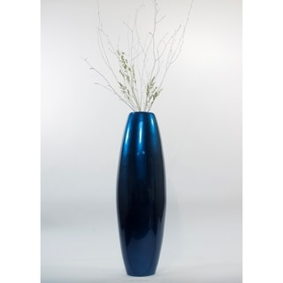 Solid Blue Lacquer 47-inch Cylinder Floor Vase and Branches