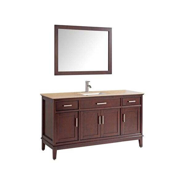 """Sierra 60"""" Single Sink Bathroom Vanity Set, Tobacco"""