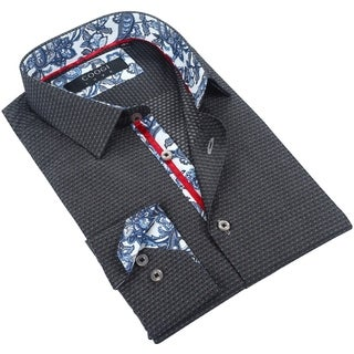 Coogi Mens Black/Grey Patterned Dress Shirt with Floral Trim