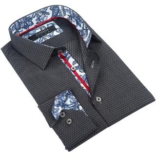 Coogi Mens Black/Grey Patterned Dress Shirt with Floral Trim