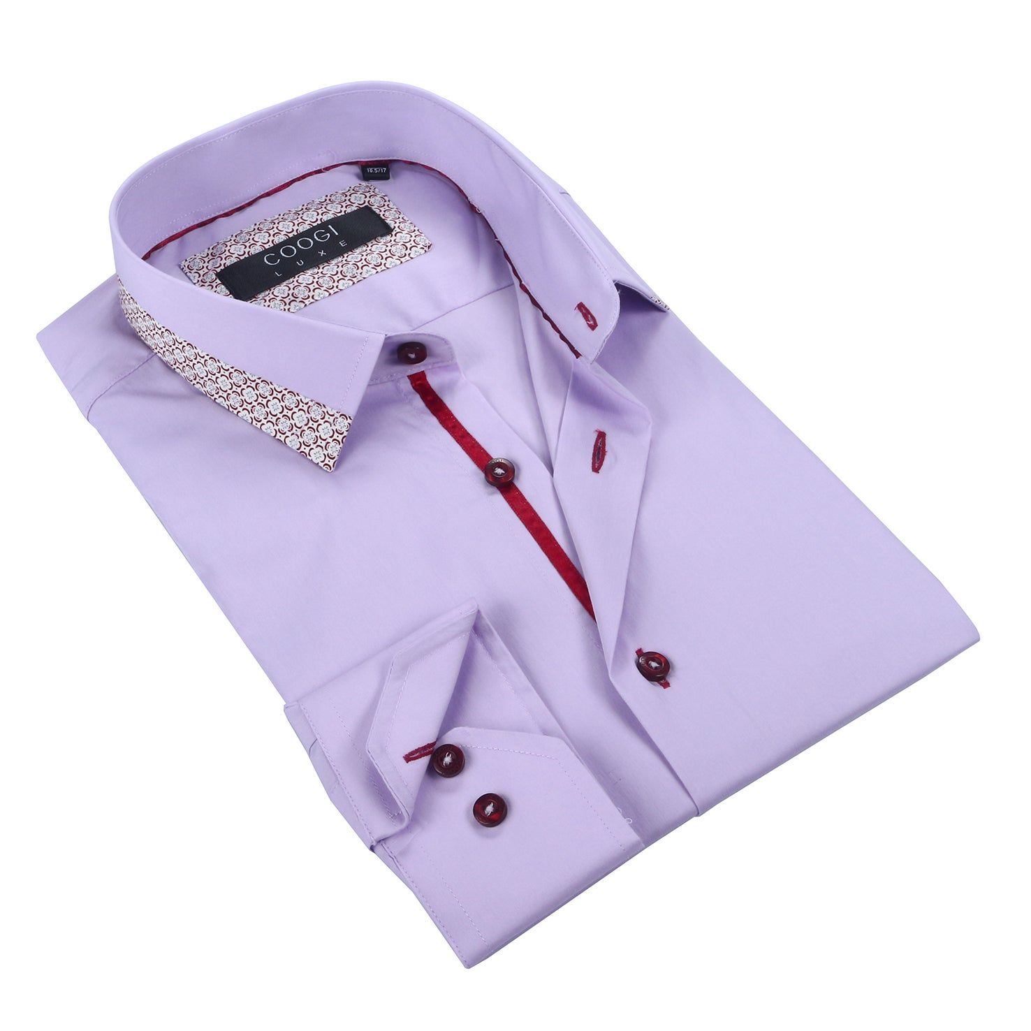 Coogi Mens Solid Purple Dress Shirt (Large), Size L