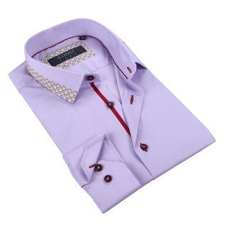 Coogi Mens Solid Purple Dress Shirt