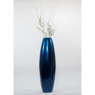 Solid-blue-lacquered 36-inch Cylinder Floor Vase With Wooden Branches