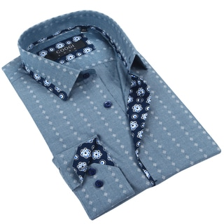 Coogi Mens Chambray Printed Dress Shirt