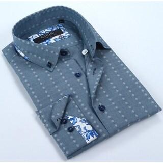 Coogi Mens Chambray Printed Dress Shirt